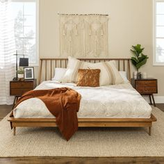 King Bedroom, Wood Bedroom, Room Ideas Bedroom, Midcentury Bedroom Decor, Wood Room Ideas, Bed Headboard Wood, Modern Headboard, Modern Bedding, Dream Bedroom