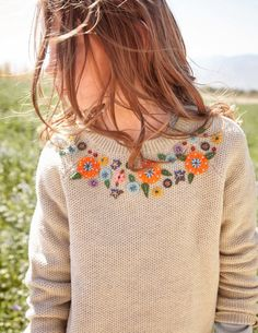 I love the floral detail and versatility of this sweater. The weight looks like it's not too heavy and not too light.
