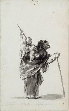El sueño de una buena bruja', dibujo de Goya . 1819–23