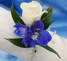 White Sweetheart Rose and Delphinium Boutonniere - Blue possible btn for groom