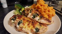Hasselback Chicken with broccoli and sweet potato. Nice Ben!