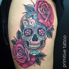 Skull and roses by Bobbi @ Primitive Tattoo Studio Perth on 126 Barrack street Perth. (08) 9 221 8585 / 0488 828 866 tattoo@primitivetattoo.com www.primitivetattoo.com