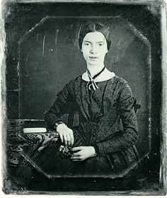 """Emily Dickinson with books in a daguerreotype, circa 1846-1847.  In her poetry, Dickinson (1830-1886) reflects her loneliness and the speakers of her poems generally live in a state of want, but her poems are also marked by the intimate recollection of inspirational moments which are decidedly life-giving and suggest the possibility of happiness.  """"I know nothing in the world that has as much power as a word. Sometimes I write one, and I look at it, until it begins to shine.""""― Emily Dickinson"""