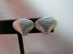 Vintage Beau Sterling Silver Screw Back Earrings Sea Shells 3.9 Grams Textured  #Beau #ScrewBack SOLD!