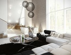 The apartment is renovated to create a high ceiling. Moooi Random Round ball Pendant Light
