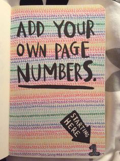 Wreck This Journal - Add Your Own Page Numbers