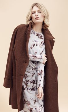Try going for an autumnal look with this Watercolour Print Shift Dress and a Double Breasted Overcoat. Lovely autumn hues.