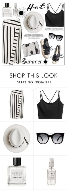 """Top It Off: Summer Hats"" by helenevlacho ❤ liked on Polyvore featuring Topshop, Calypso Private Label, Dezso by Sara Beltrán, Alexander McQueen, Tom Daxon, Herbivore, contestentry and summerhat"
