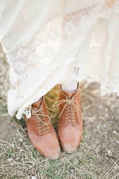lace dress and brown ankle boots