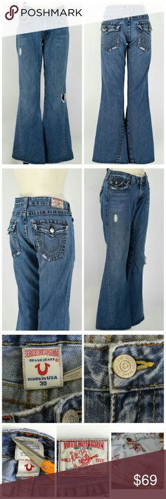 """True Religion Joey Flare Leg Jeans distressed Sz 30. True Religion Joey Flare Leg Jeans.  Factory distressed/destroyed. 100% cotton. Gently used, no flaws. Very slight thinning in seat area. These have also been professionally hemmed at leg openings, but can easily be let out. Approx measurements Waist 33"""" Hips 40"""" Rise 7"""" Inseam 30.5"""" Leg opening 20"""". True Religion Jeans Flare & Wide Leg"""