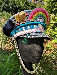 Items similar to Officer Rainbow - Festival Captain Hat on Etsy Rave Festival, Festival Looks, Festival Hats, Festival Outfits, Festival Fashion, Coachella, Make Carnaval, Pride Outfit, Fantasias Halloween