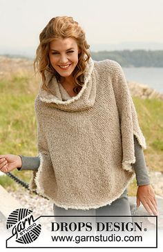 "Ravelry: 133-4 ""Robin"" - Poncho with large collar in Alpaca Bouclé pattern by DROPS design"