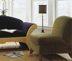 Pompanoosuc Mills - Orleans loveseat in solid maple and Calais armchair with walnut feet.