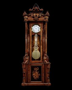 American Aesthetic Movement Longcase Regulator Clock~ Impeccable artistry and craftsmanship distinguish this 19th-century precision longcase regulator clock. With a Swiss 8-day movement and pinwheel escapement, and a case crafted in the American Aesthetic Movement style in a towering and graceful design, this timepiece is both visually and mechanically stunning. ~M.S. Rau Aesthetic Movement, Antique Clocks, Quality Time, Nature Pictures, 19th Century, American, Crafts, Design, Style