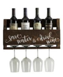 """Wine Quote """"Save Water and Drink Wine"""" Wall Mounted Wine Rack Wine Shelves, Wine Wall, Wine Decor, Purple Wine, Wine Quotes, Drink Wine, Wine Racks, Save Water, Weathered Wood"""