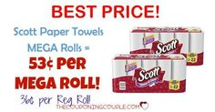 ****HOT Scott Paper Towels Choose-A-Sheet DEAL*** ONLY 53¢ per MEGA ROLL! BEST PRICE AROUND! DON'T MISS OUT ON THIS DEAL!  Click the link below to get all of the details ► http://www.thecouponingcouple.com/scott-paper-towels-deal/ #Coupons #Couponing #CouponCommunity  Visit us at http://www.thecouponingcouple.com for more great posts!