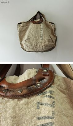 vintage bag with leather handle Leather Handle, Leather Bag, Canvas Leather, Burlap Bags, Linen Bag, Big Bags, Vintage Bags, Tote Purse, Beautiful Bags