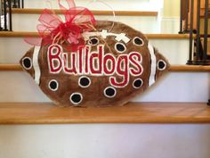 Georgia Bulldog football burlap doorhanger by AdoorableBurlaps, $35.00