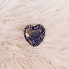 Antique Scalloped Heart Pin Handcrafted. Brass. Unique and beautiful! Jewelry Brooches