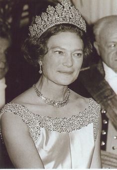 Grand Duchess Charlotte's only son, Jean, wed Princess Josephine of Belgium on 9 April seen here wearing the Empire tiara Royal Crown Jewels, Royal Crowns, Royal Tiaras, Royal Jewelry, Tiaras And Crowns, Bling Jewelry, Diamond Tiara, Casa Real, Elisabeth