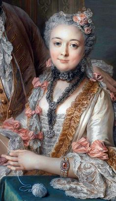 (detail) Presumed to be François de Jullienne and his wife Marie Élisabeth de Séré de Rieux by Charles Antoine Coypel, 1743