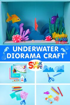 Make a beautiful underwater diorama with Caitie in her classroom! Summer Crafts For Kids, Projects For Kids, Diy For Kids, Ocean Crafts, Fish Crafts, Craft Activities For Kids, Preschool Crafts, Ocean Activities, Under The Sea Crafts