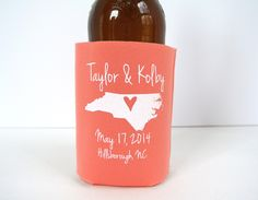 hey, i found this really awesome etsy listing at s www etsy Wedding Koozies Lafayette La personalized city and state bridal wedding favors, wedding can coolers, custom beverage insulators, Rustic Wedding Koozies