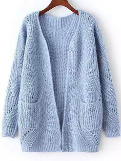 Long Sleeve Chunky Knit Pockets Blue Cardigan-romwe