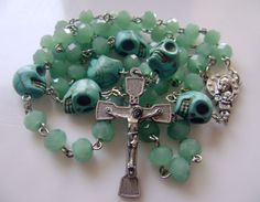 THIS IS A VERY HANDSOME SET OF A BEADED ROSARY,MEDIEVAL STYLE ROSARY BEADS. THIS ROSARY IS SO ONE SIZE FITS MOST TEENS/ADULTS. VERY STYLISH AND UNIQUE! GREAT RELIGIOUS'S WITNESS WEAR! Rare Turquoise Skull &Green Beads ROSARY NECKLACE CROSS. | eBay!