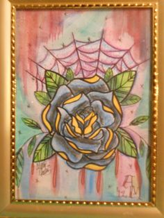 """Spider Web Rose""  5""x7""  Framed  Watercolors/Watercolor Pencils -Art By Alexis Martinez on FB"