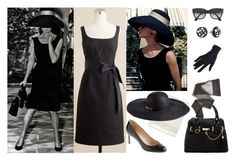 """""""Kentucky Derby Audrey Hepburn Look"""" by kentuckyfashion ❤ liked on Polyvore featuring Tiffany & Co., J.Crew, Brooks Brothers, Rachel Zoe, Wolford, Steve Madden, Ray-Ban, black pumps, black button earrings and black sunglasses. black sun hat"""