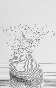 ☆ Woman II :→: Artist Alexi K ☆ Wire Drawing, Gesture Drawing, Art Connection, Different Art Styles, Illusion Art, Bedroom Art, Teaching Art, String Art, Pattern Art
