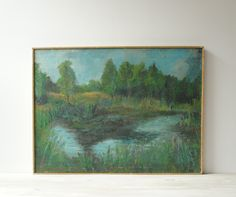 Vintage Landscape Painting, Framed Oil Painting of a Pond and Trees