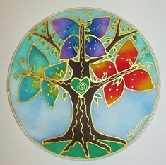 rainbow tree mandala Tree of Life art mandala art spiritual gifts Tree of Light spiritual art gifts under 40 meditation tree mandala pagan Mandala Art, Tree Of Life Art, Tree Art, Silk Painting, Stone Painting, Painted Rocks, Hand Painted, Painted Silk, Goddess Symbols