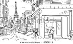 watercolor black and white streets of paris - Google Search