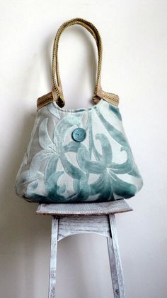 Mint tapestry hobo bag with burlap