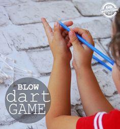 Q-Tip Blow Dart Game- wish I had seen this before the Back 2 School Bash this one looks even more fun than the one we did Indoor Games, Indoor Activities, Summer Activities, Toddler Activities, Brain Busters, Boredom Busters, Fun Learning, Learning Activities, Alphabet Activities