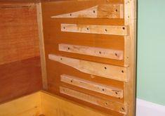 Wooden drawer slides - lots of ideas and examples. Diy Storage Drawers, Diy Garage Storage, Workbench With Drawers, Wooden Drawers, Woodworking Bench, Woodworking Projects, Furniture Projects, Wood Projects, Wood Drawer Slides