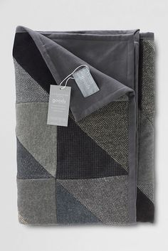 Patchwork Quilted Throw from Lands' End - Made from felted wool sweaters and wool suiting; lined w/fleece.