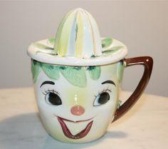 Vintage Handpainted Smiling Clown Juicer Reamer Pitcher Strainer Marked Japan   eBay