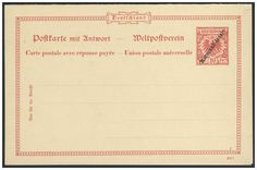 German Colonies, DP-Marshall-Inseln 1898, 10 Pfg.-GA-Doppelkarte (807f, Berliner Ausgabe), ungebraucht Pracht (Mi.-Nr.P4/Mi.EUR 100,--). Price Estimate (8/2016): 25 EUR.