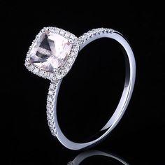 Morganite Pave Diamond Prongs Solid 10K White Gold Engagement Wedding Halo Ring