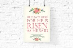 He is risen printable | Easter Printable | Easter Typography Poster | Bible Quote Printable | Instant download | Easter Holiday Art Print easter poster easter printable Easter Wall Art Easter Decor Typography Art typography poster modern floral he is risen print Resurrection Easter Quote Jesus Bible Quote qoute from the bible 5.50 USD #goriani