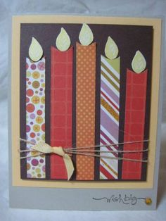 Cute and simple birthday card- like the string and different patterned paper