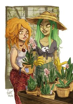 Effie wellgrow and Diem maltyflower. 17 and 18, second and third years. Both part plant and part human.