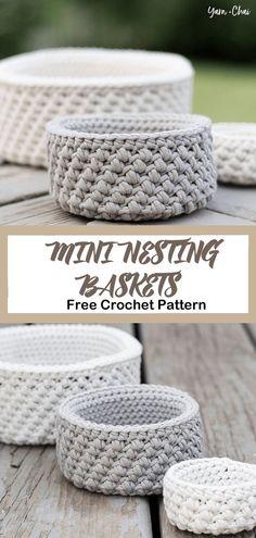 Nesting Baskets Free Crochet Pattern - Organize Yourself - A More Crafty Lif . Nesting Baskets Free Crochet Pattern – Organize Yourself – A More Crafty Life- Baskets Free Cro Double Crochet, Single Crochet, Easy Crochet, Crochet Baby, Knit Crochet, Knitting Storage, Crochet Storage, Easy Knitting Projects, Crochet Projects