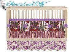 "Baby Crib Bedding ""Gypsy""- Purple, Gray, Pink, Red - Birds, Flowers, Chevron - Made to Order - Customizable, Crib Bumper, Crib Sheet, Skirt on Etsy, $370.00"