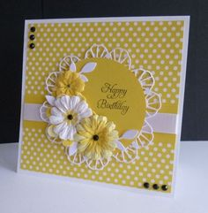 ~ Sunny Birthday by sistersandie - Cards and Paper Crafts at Splitcoaststampers Craft a sunny card by hand. Birthday Cards For Women, Handmade Birthday Cards, Happy Birthday Cards, Greeting Cards Handmade, Female Birthday Cards, Birthday Crafts, Card Birthday, Birthday Greetings, Birthday Wishes
