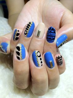 Fierce Colbolt Blue Black  Nude Tribal Art Nails with gold stones and stuuds