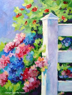 new acrylic painting..'Summer Fence'